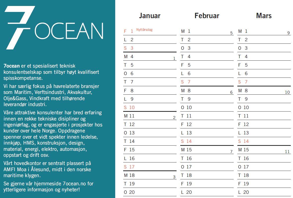 Calendar 2021 | 7ocean