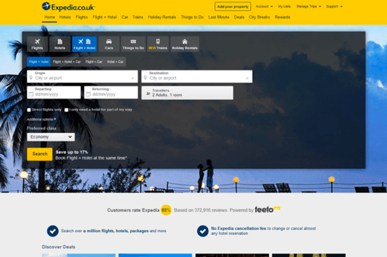 Image of the Expedia website