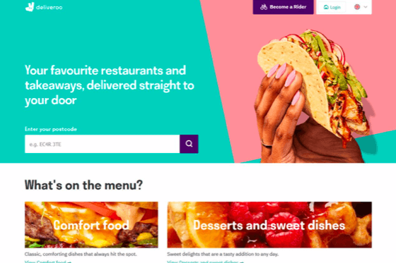 Image of the Deliveroo website