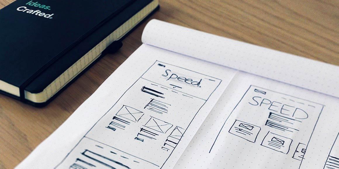 Web design wireframe in a sketchbook