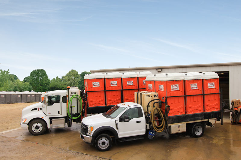 Portable restroom sanitation and delivery trucks