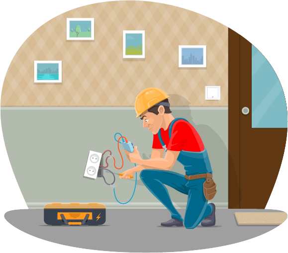 Residential electrical work illustration