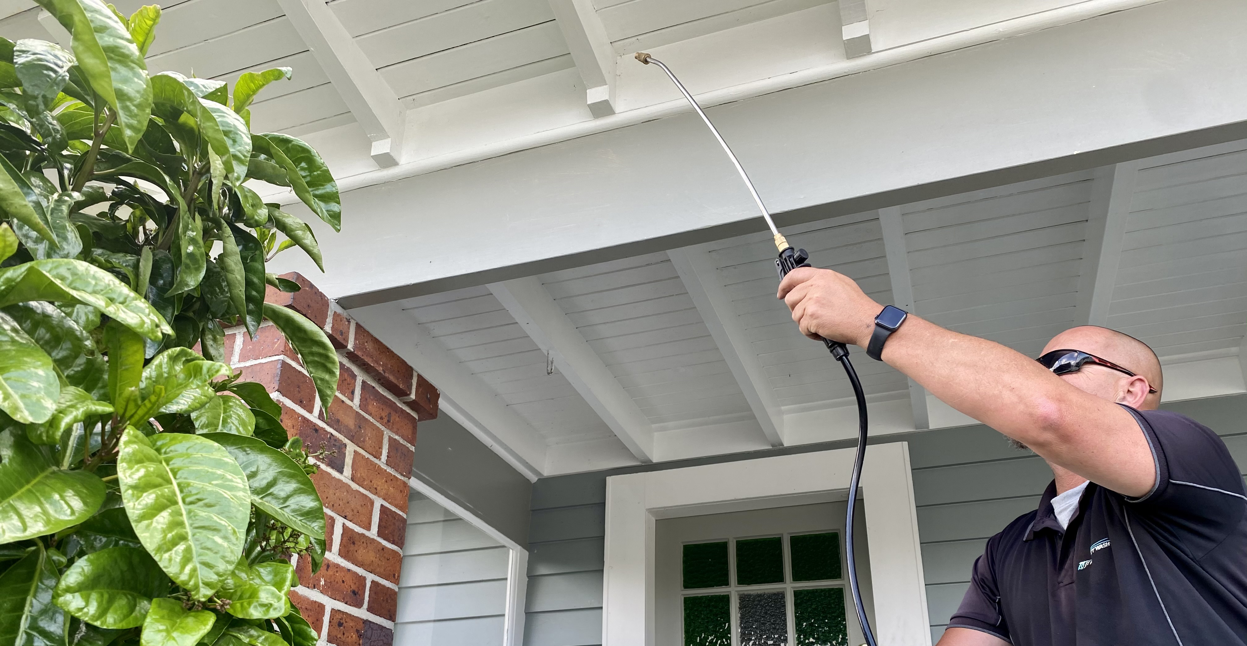 Pest Spraying & Bug Control to remove spiderwebs on house