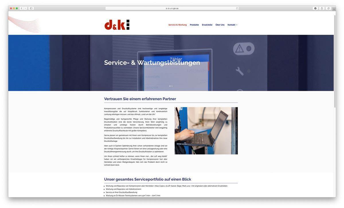 Druckluft und Kompressorenservice Website Serviceleistungen