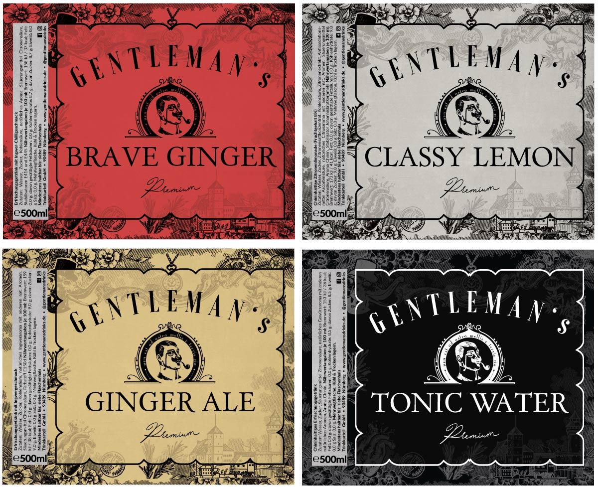 Etiketten Einzelflaschen Gentleman's Drinks
