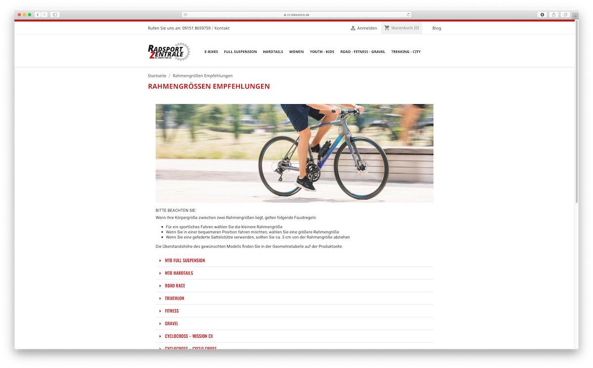 RZ-Bikestore Rahmengrößen Kalkulator