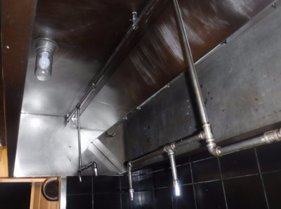 exhaust hood in sals gilbert pizza after a thorough cleaning