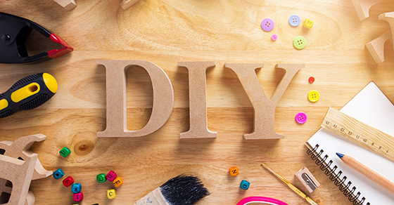 wooden letters DIY on craft table