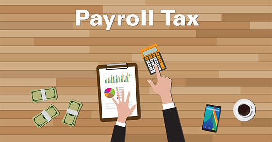 cartoon of someone working on payroll tax