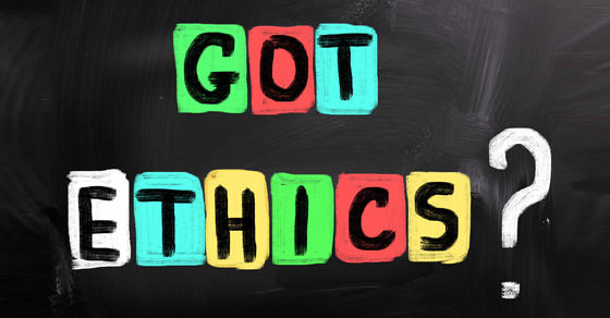 """""""got ethics?"""" spelled out colorfully on blackboard"""