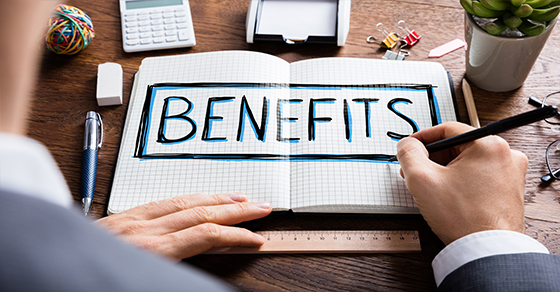 benefits written in notebook