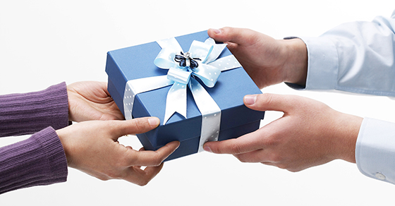 hands on a gift