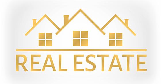 real estate illustration in gold
