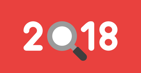 2018 graphic with a magnifying glass as the 0