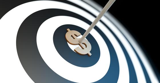 arrow through bullseye with dollar sign