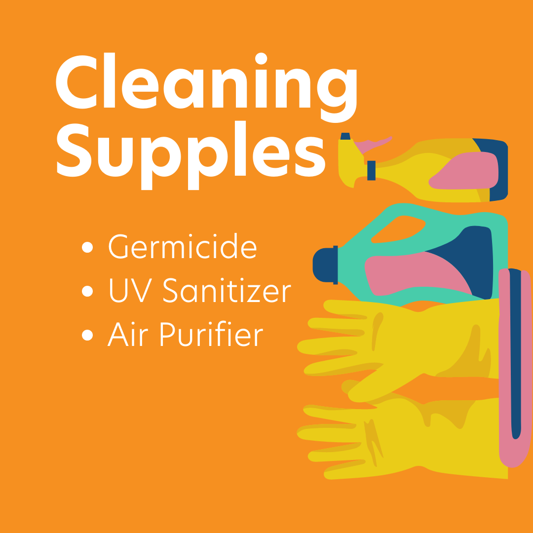 Curacubby Instagram Post - Reopening Advice:  Recommended Clean Supplies: Germicide, UV Sanitizer, and Air Purifier