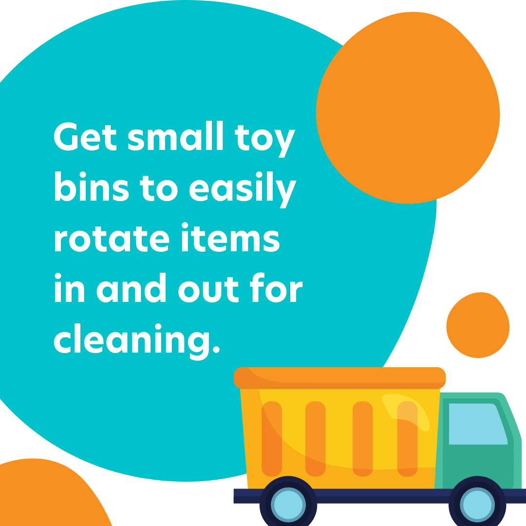 Curacubby Instagram Post - Reopening Advice:  Get small toy bins to easily rotate items in and out for cleaning.