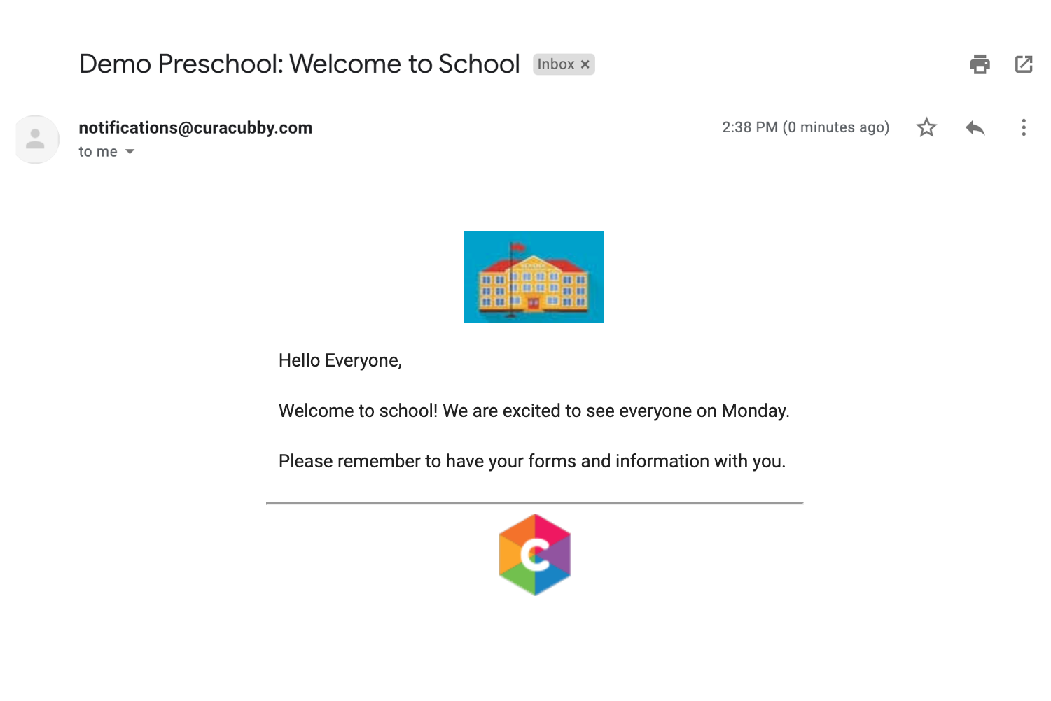 curacubby example school emails