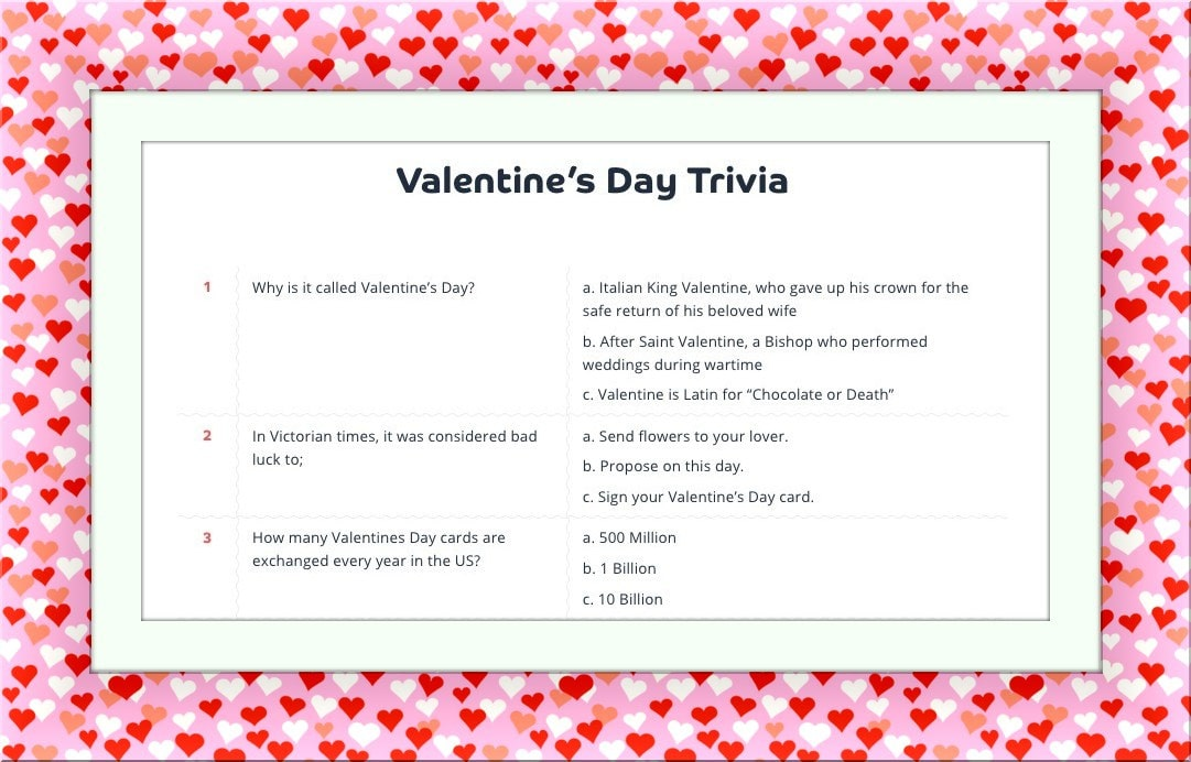 Trivia is a fun office activity on Valentine's Day!