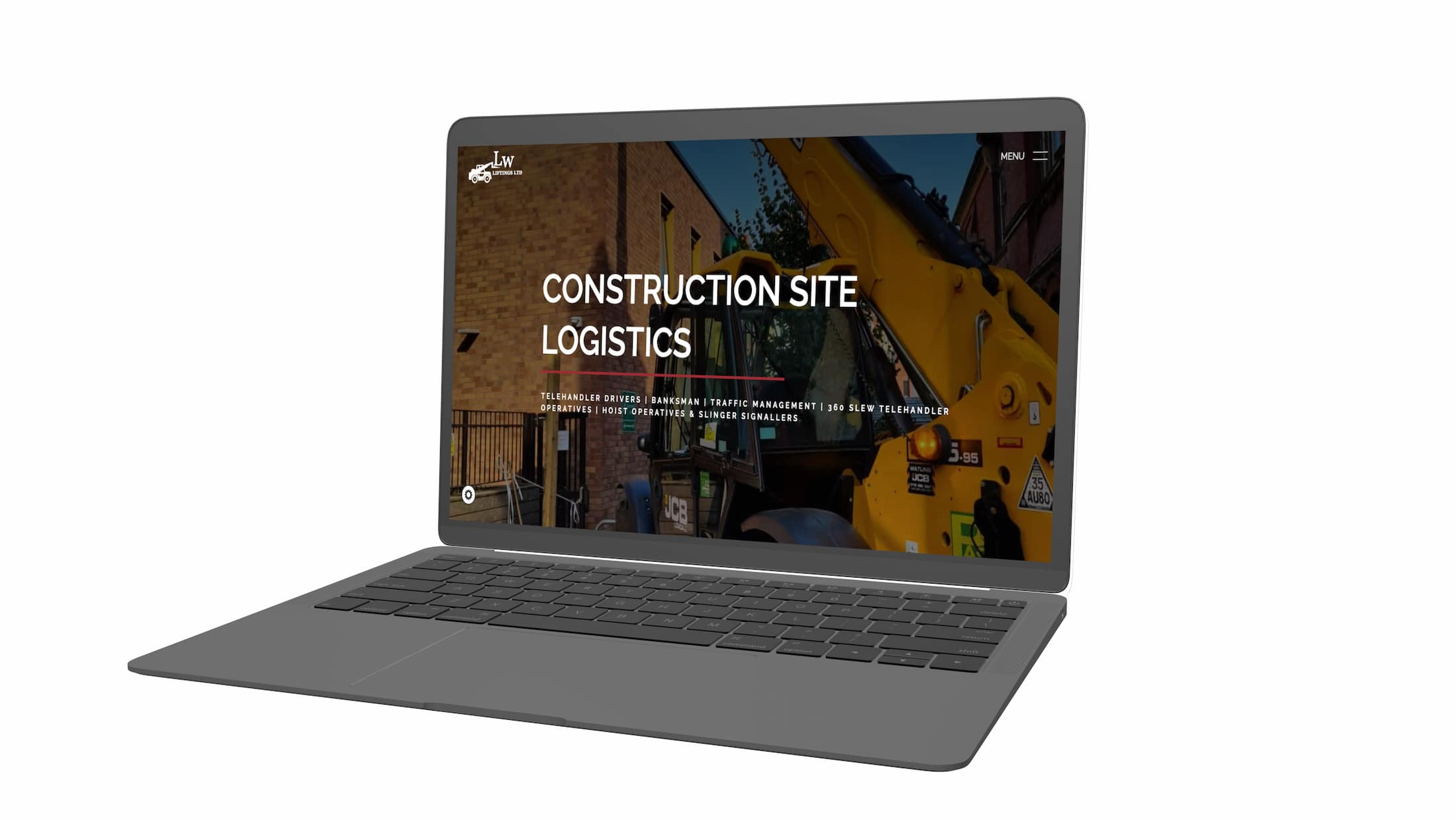 web developer mockup with lw liftings construction website on a laptop with screen open