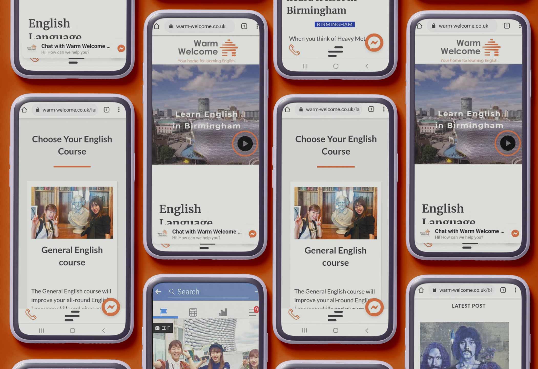warm welcome mobile website design mockups