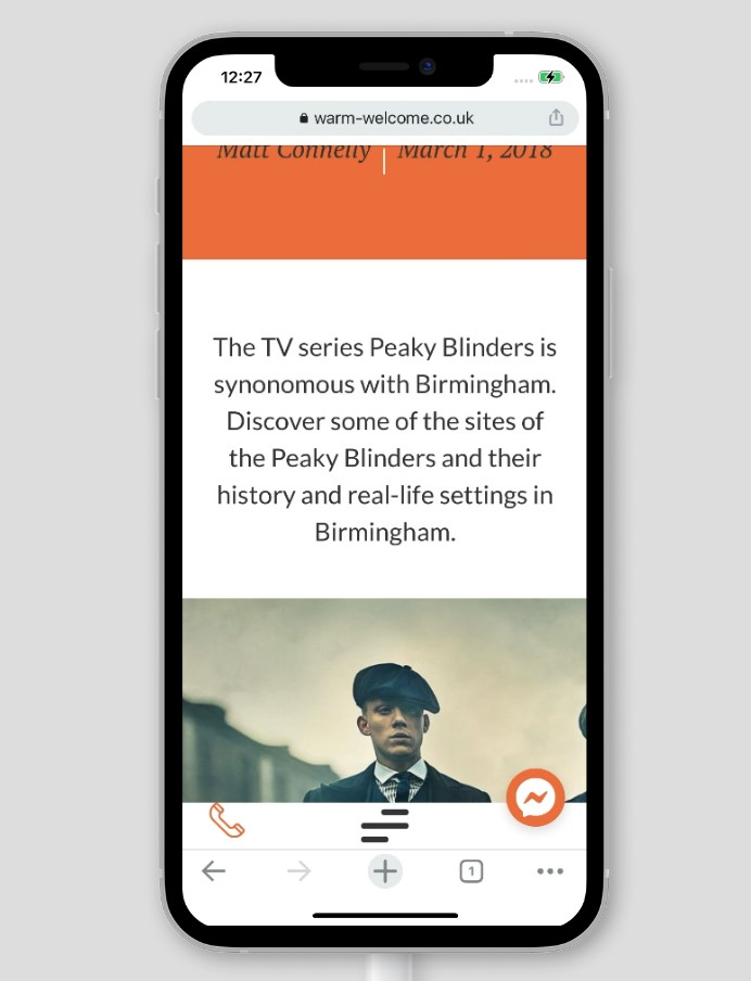 peaky blinders blog on a screenshot of the warm welcome website design produced by paddle creative