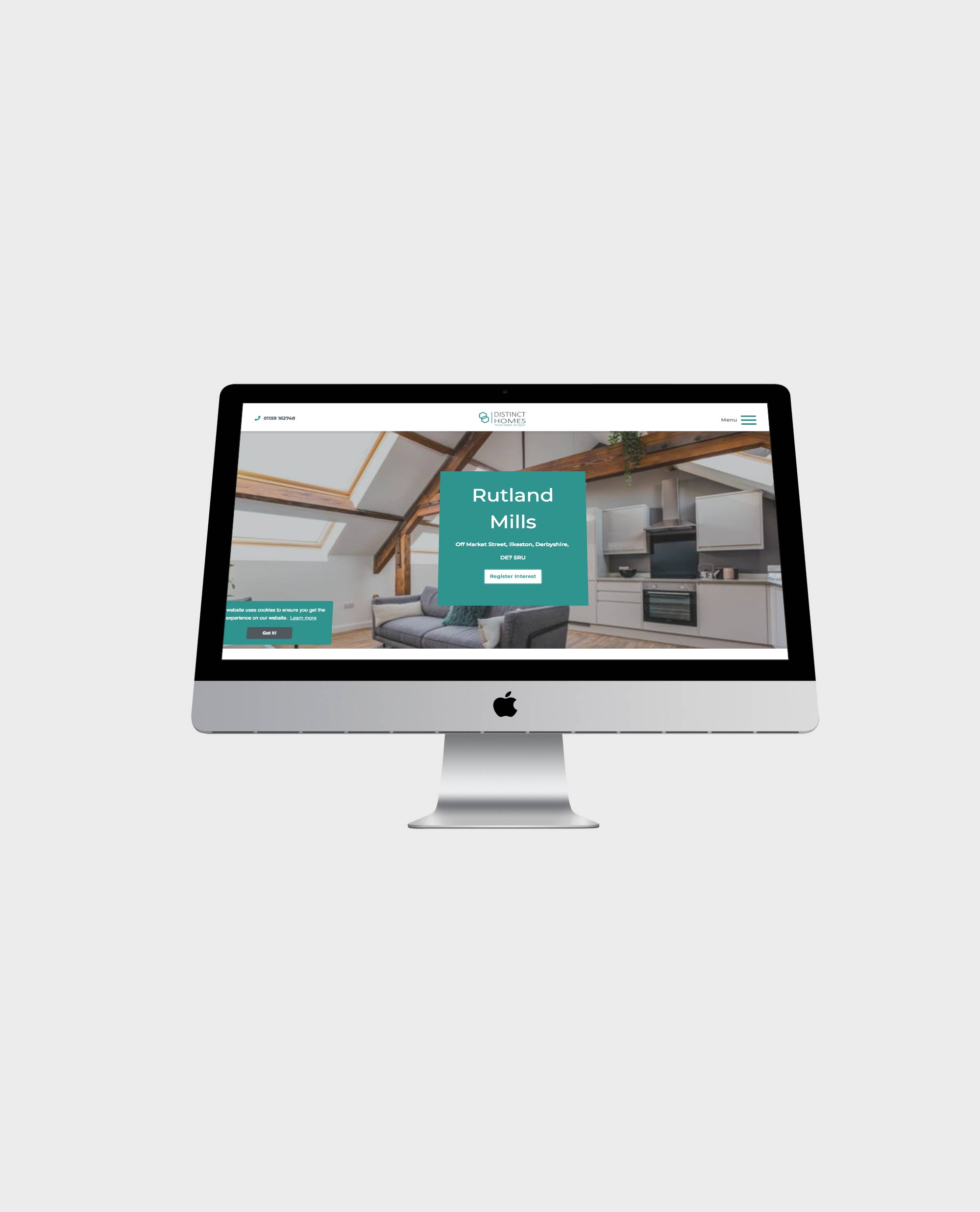 distinct homes mobile design for a website for a housing developer in a hand