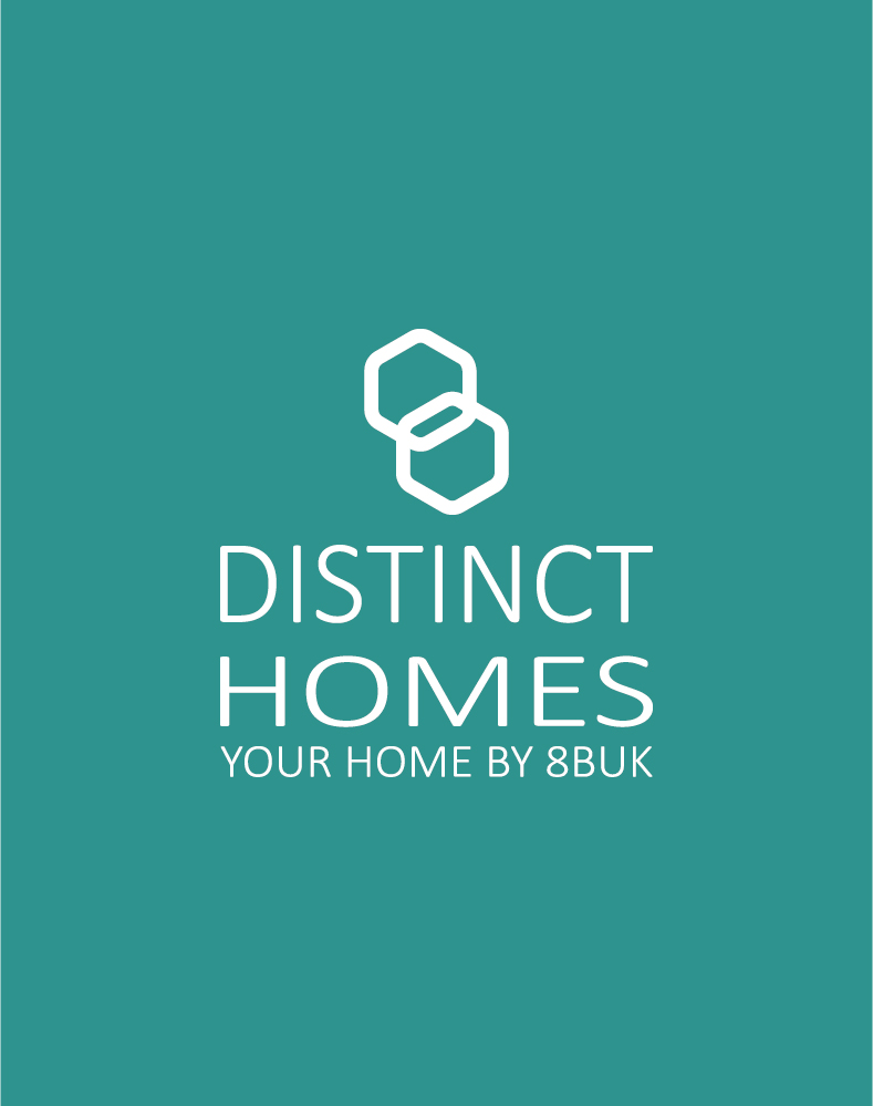 distinct homes logo inverted on teal background