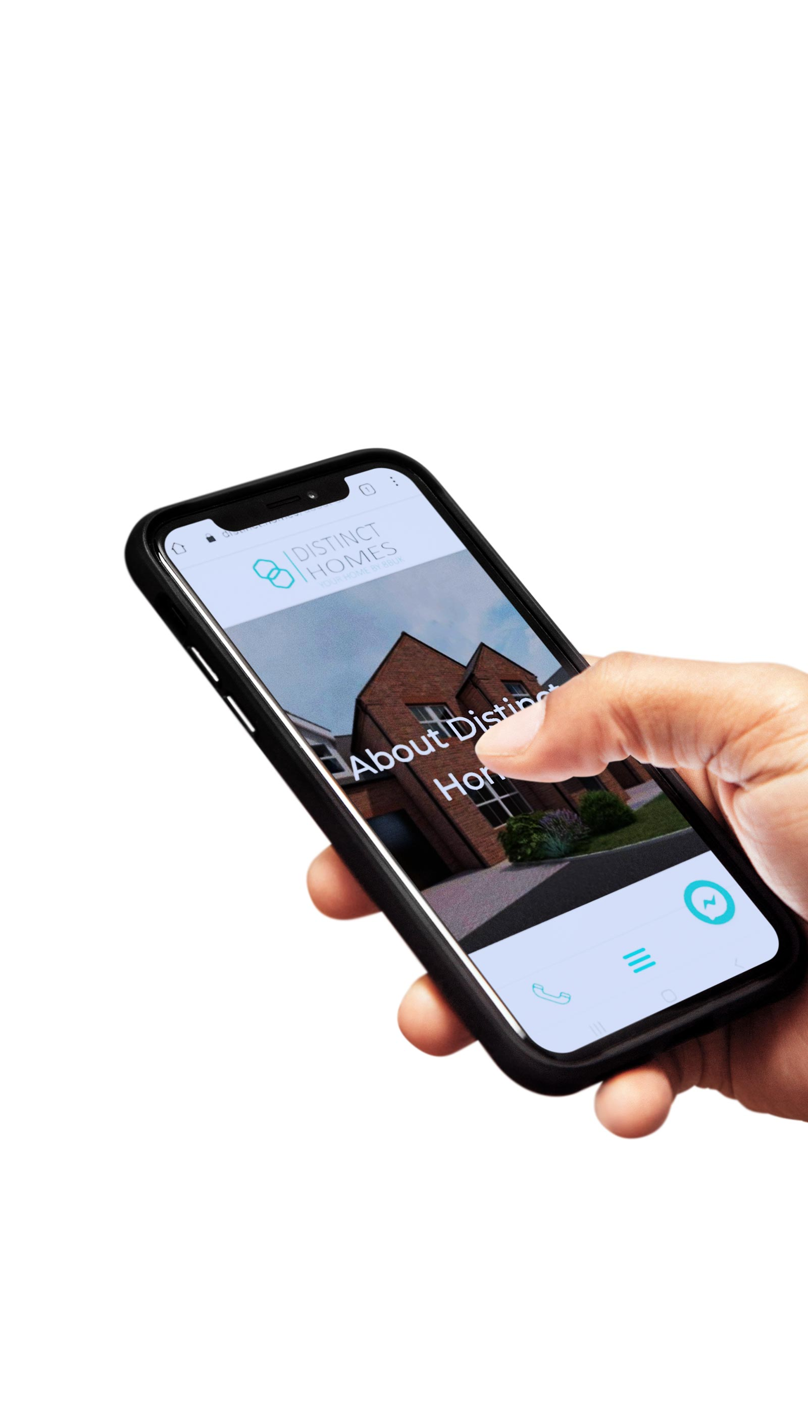 distinct homes mobile phone with their website design being held in a hand to show web designer