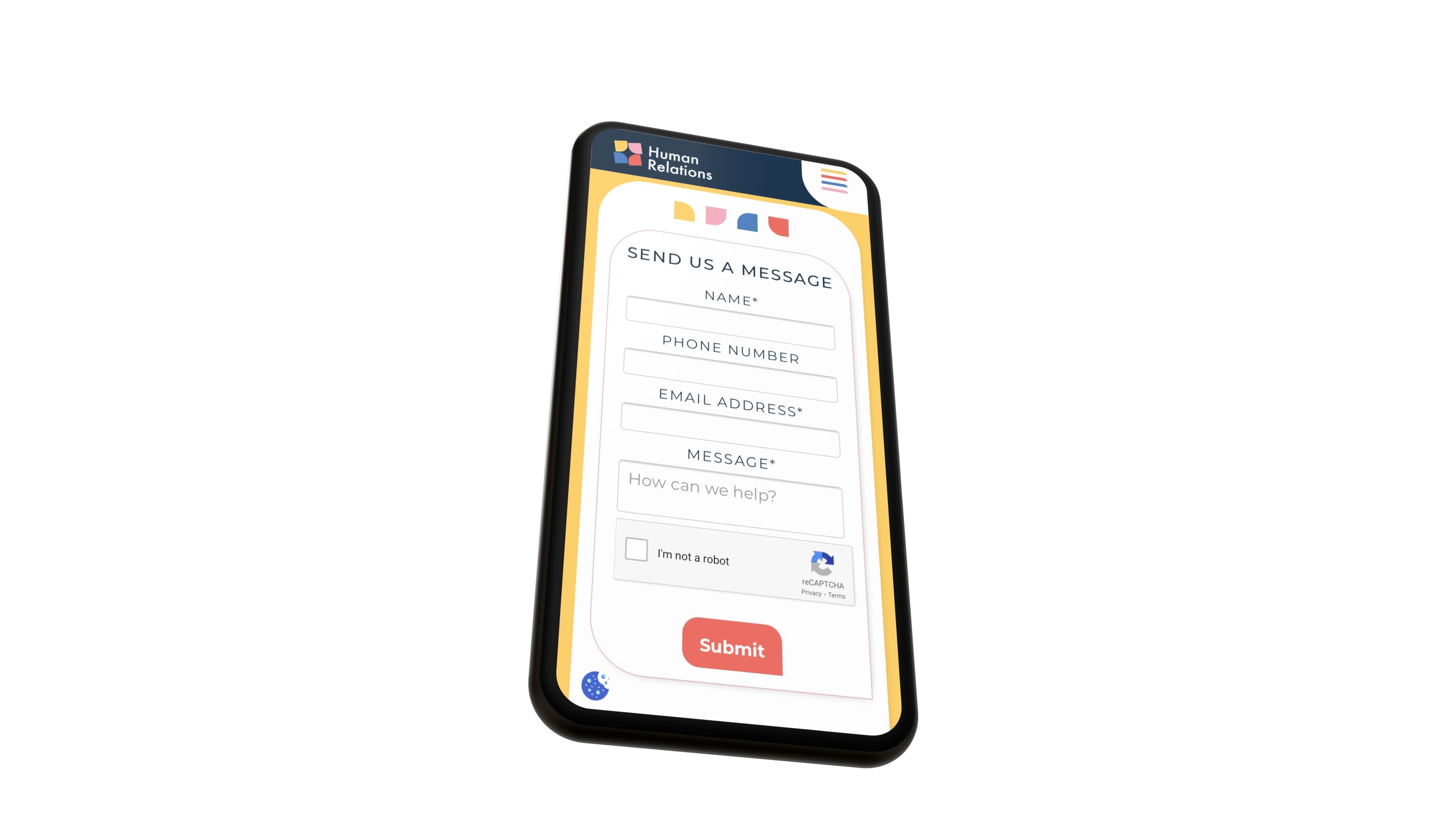 human relations mobile website mockup showing on an iphone mocked up web design