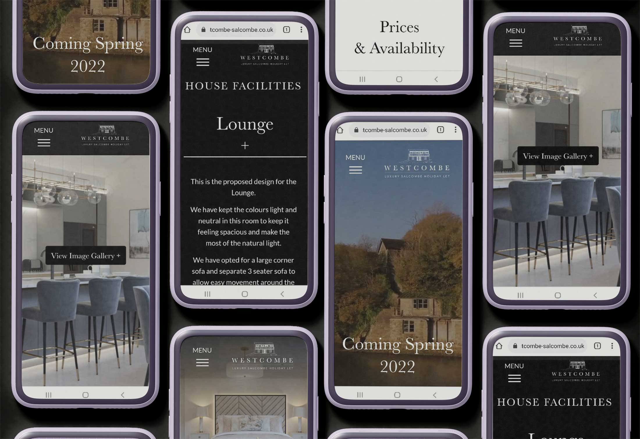 westcombe salcombe holiday let website on mobile phone laid out in a grid