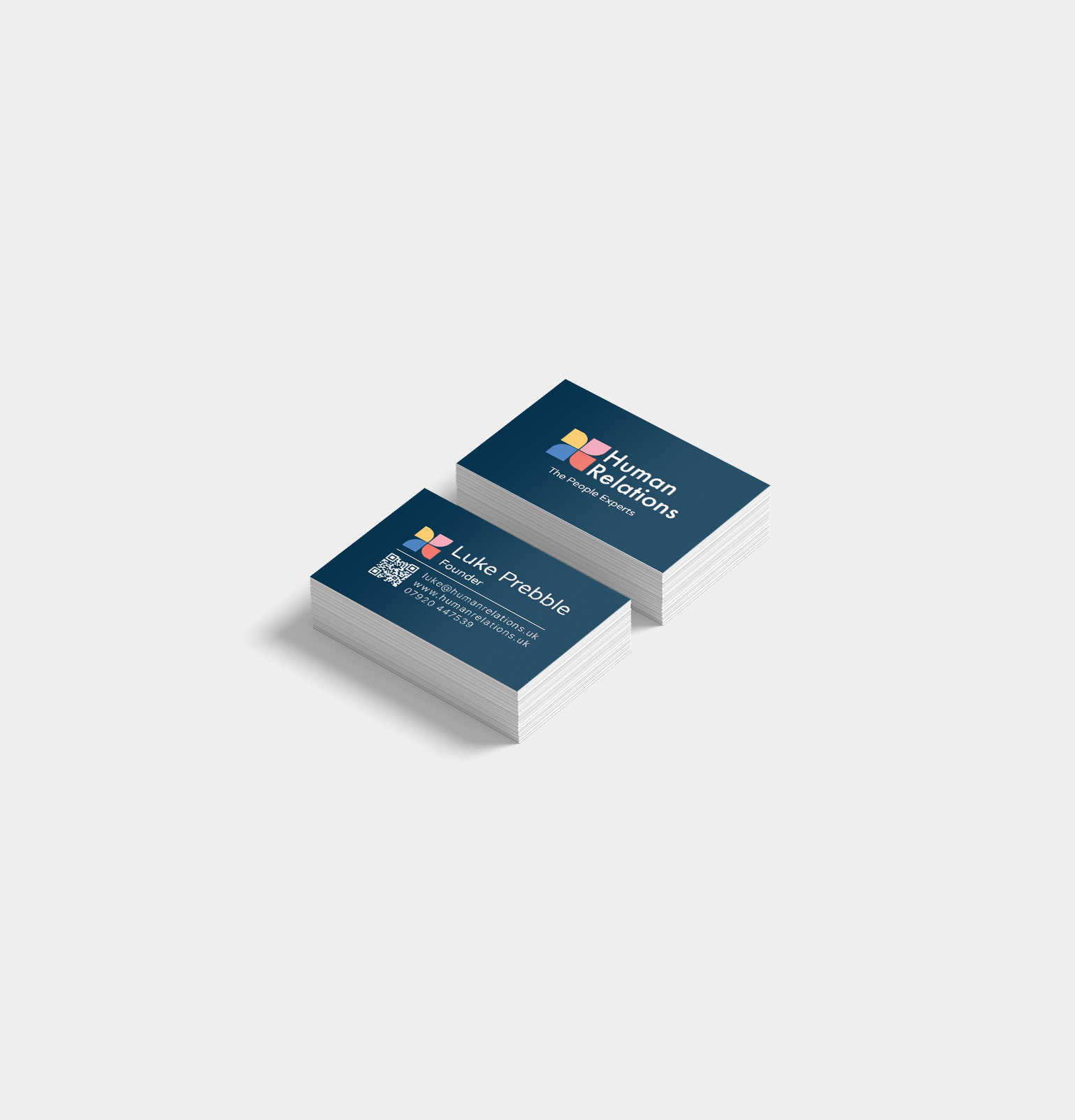 human relations stacked business cards