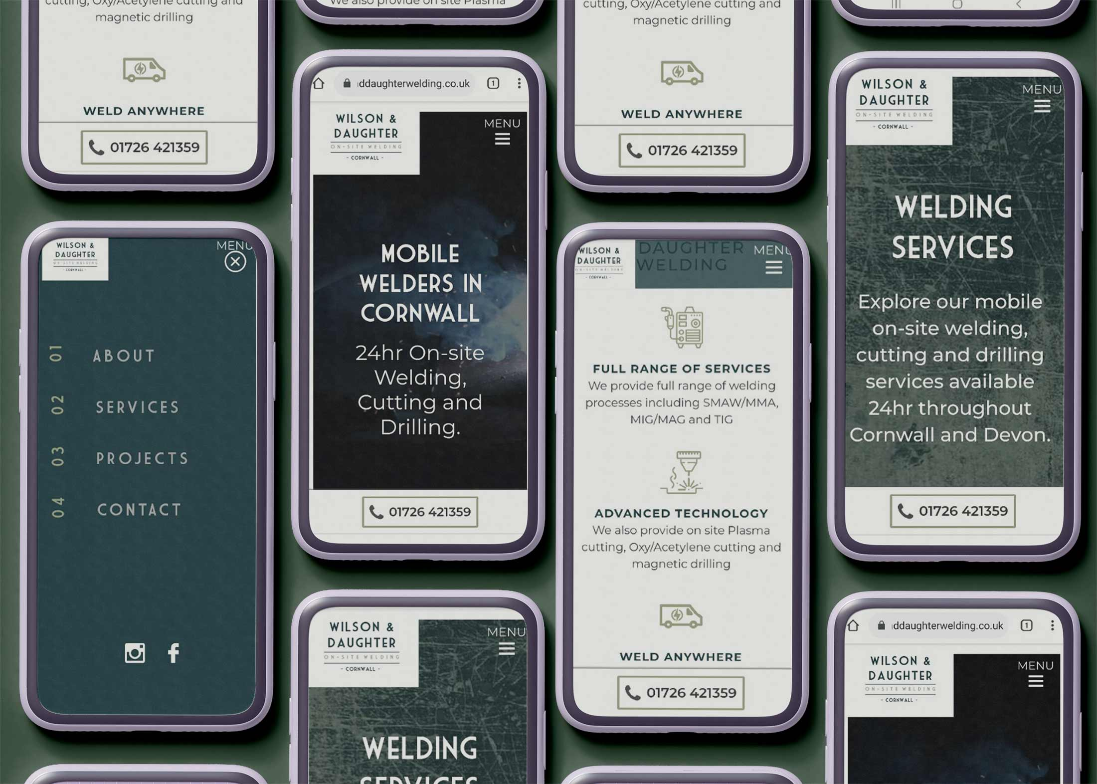 new website shown on several mobile phones laid flat in square format