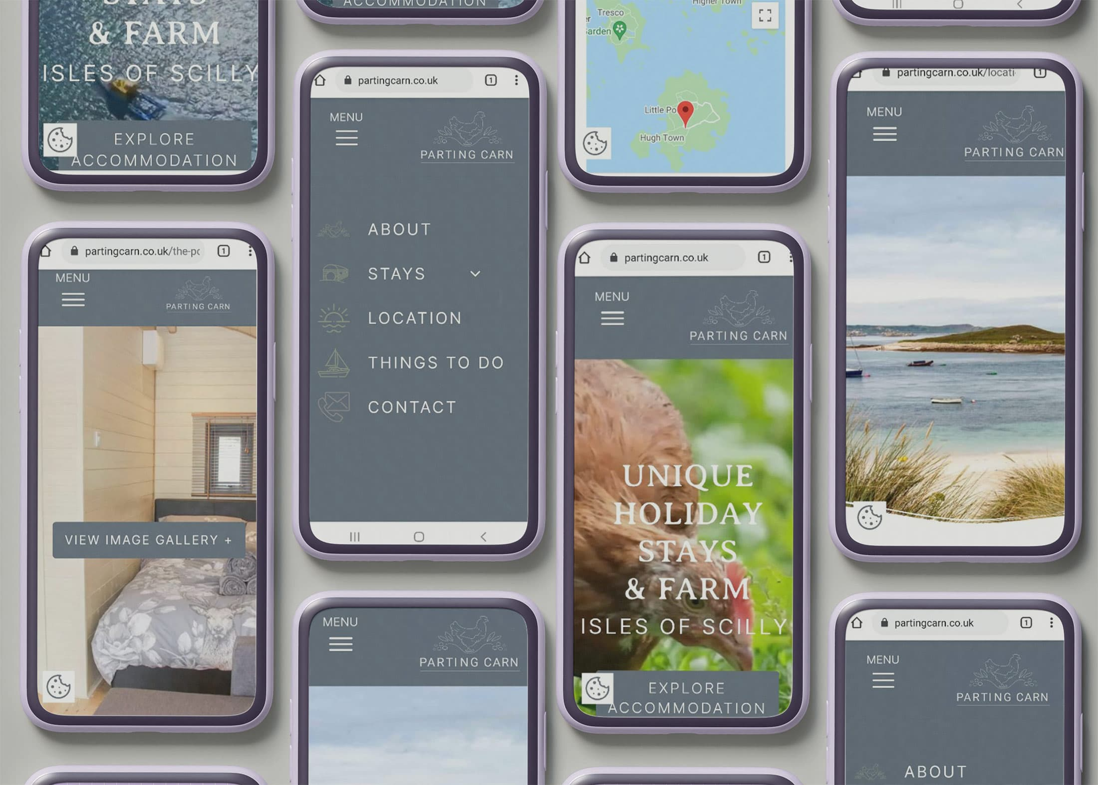 parting carn website on multiple android mobile phone website designs