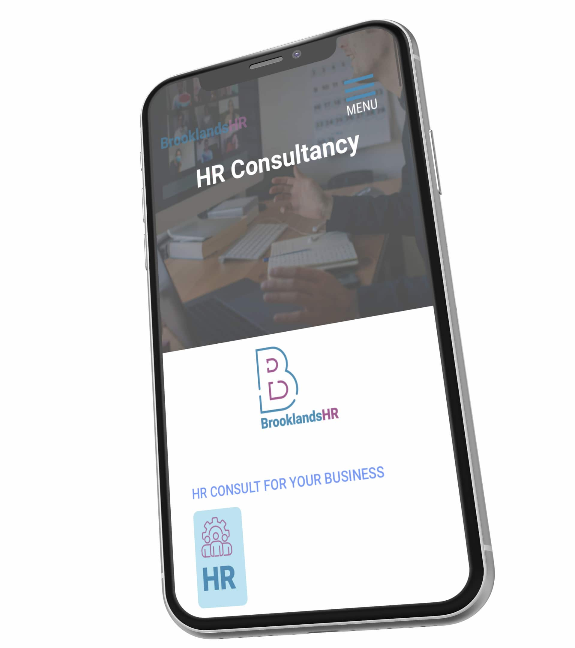 human resources website shown on a  mobile phone for brooklands hr in plymouth