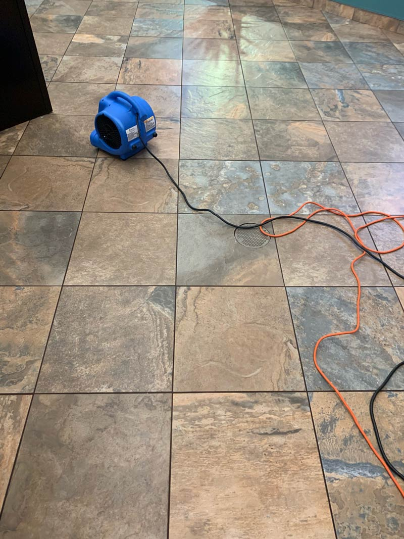 Tile and grout drying after being cleaned, Lancaster
