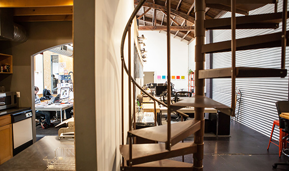 the perch coworking space interior with spiral staircase