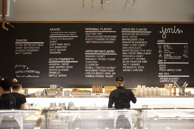 jeni's ice cream black menu board