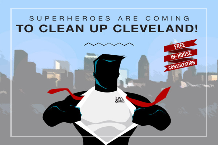 "graphic with superhero cartoon that reads ""superheroes are coming to clean up cleveland"""