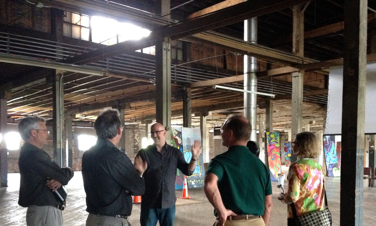 group touring the idea foundry interior