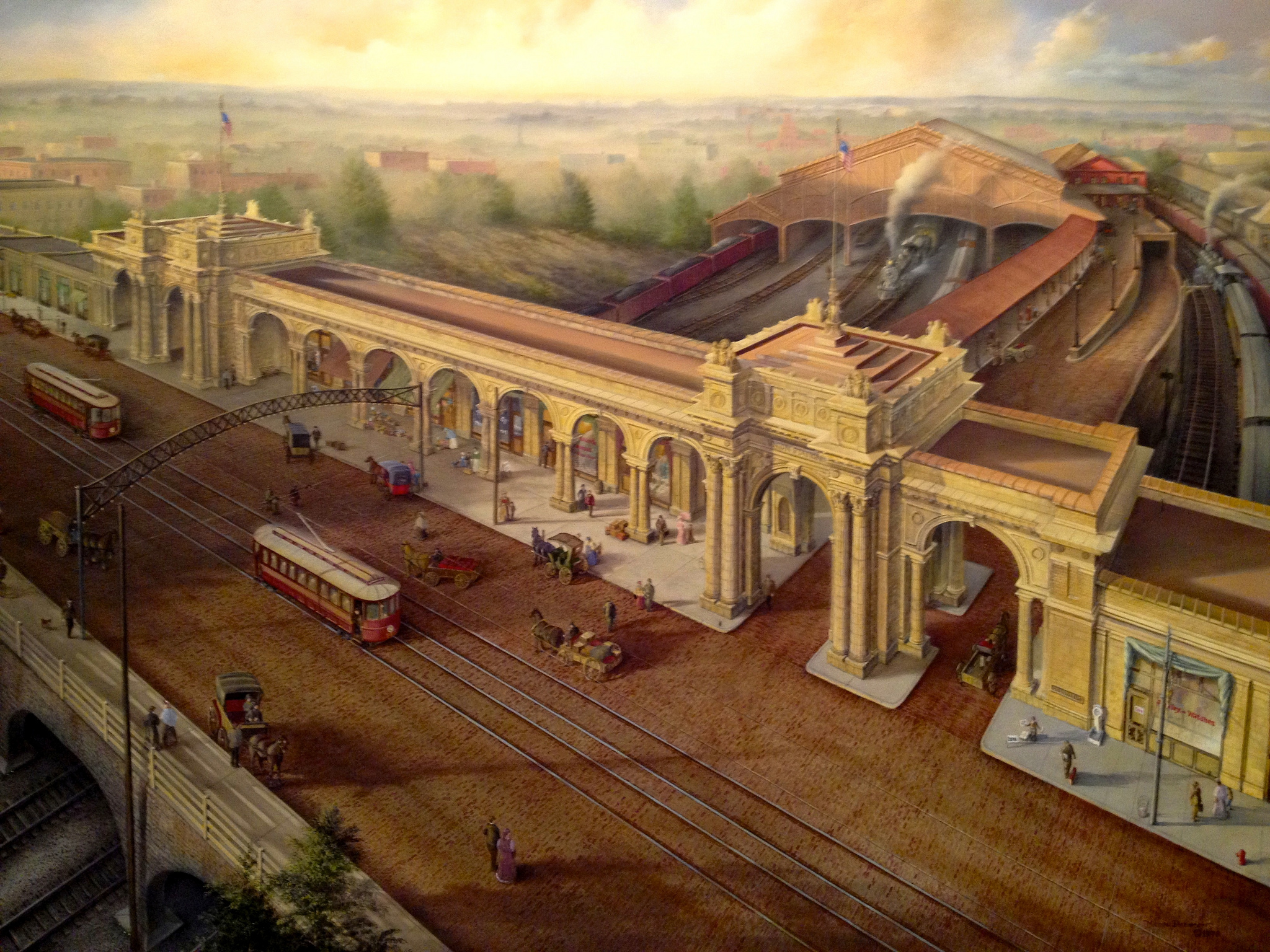 historical painting of Union Station in Short North