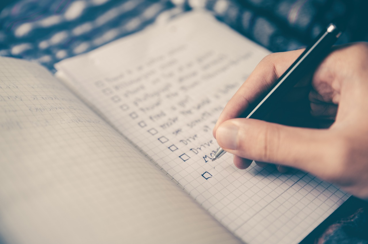 hand writing checklist