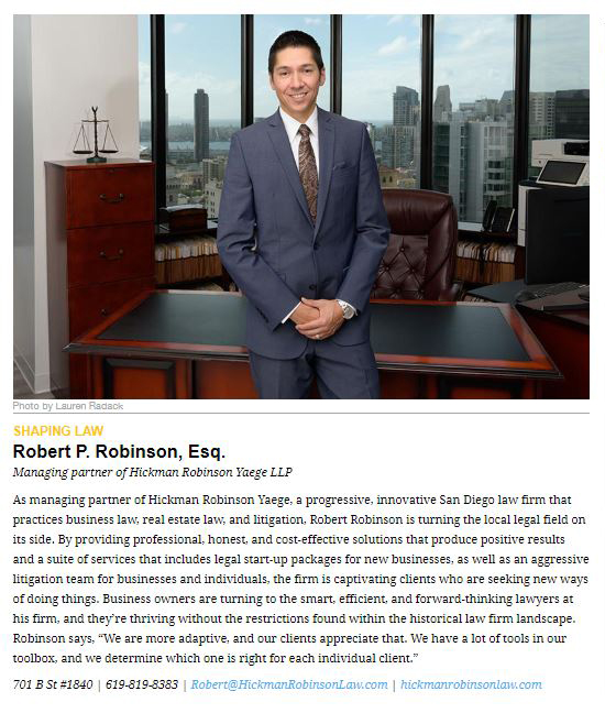 Robert Robinson featured in San Diego Magazine
