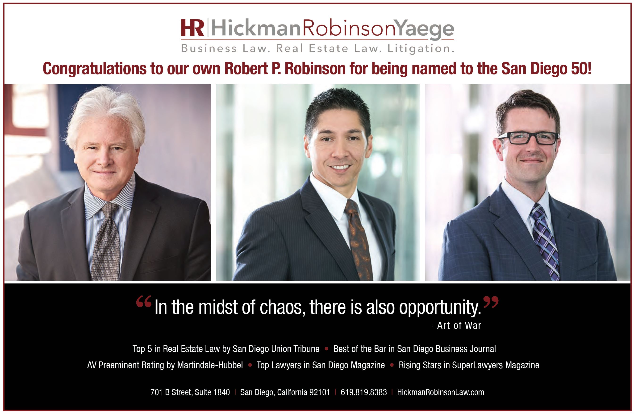 Hickman Robinson Yaege featured in SDBJ