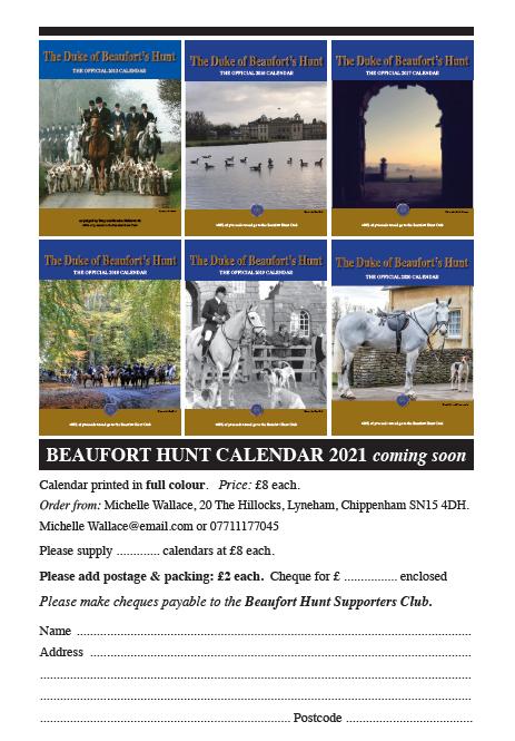 2021 Beaufort Hunt Calendar