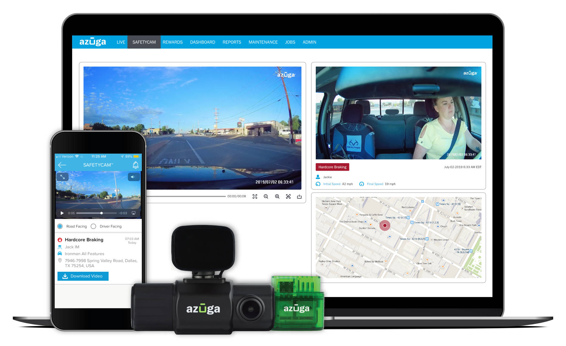 Fleet dash camera and GPS tracking software