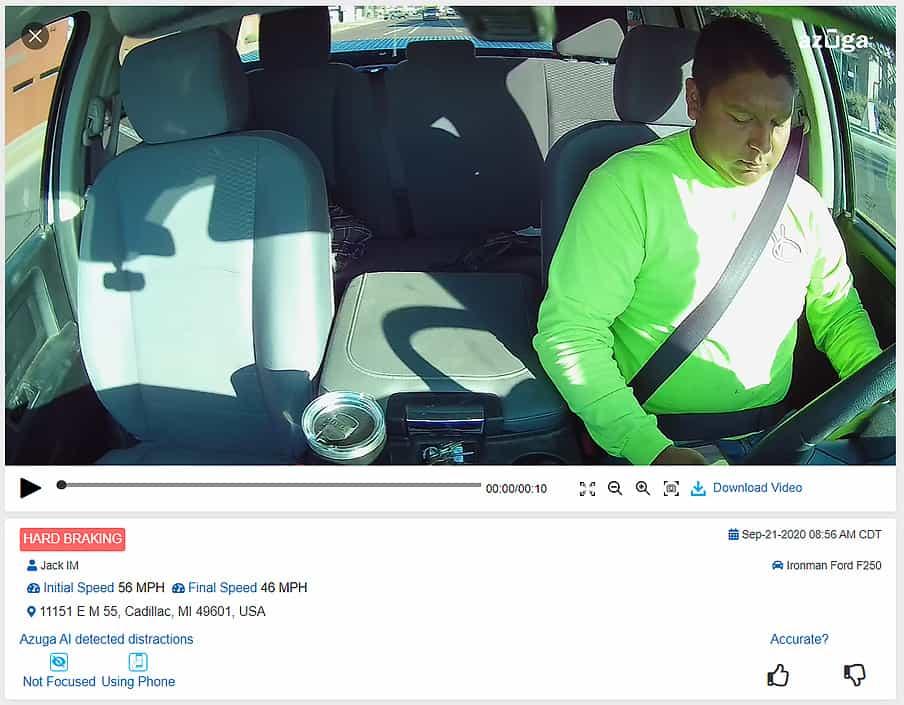 In-cab dashcam video recording