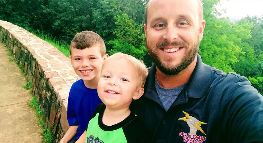 nathan sanders founder of ark n spark electric with his family