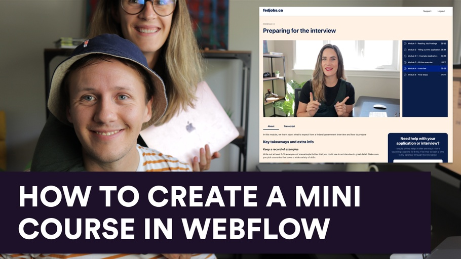 How to create a mini course in Webflow