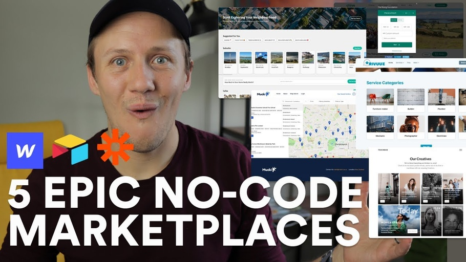 5 no-code marketplaces created with Webflow, Airtable and Zapier